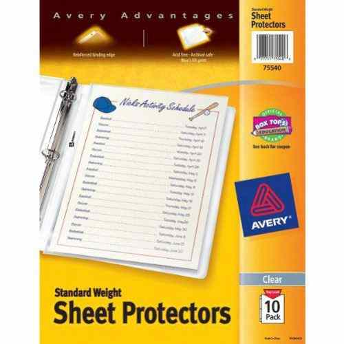 Avery Clear Standard Weight Sheet Protectors 10pk (AVE-75540) Image 1