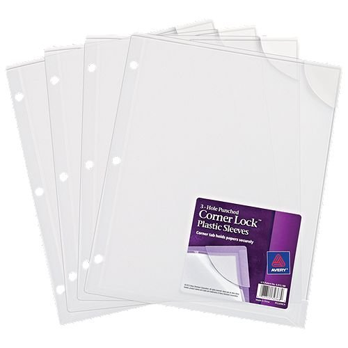 "Avery Corner Lock 3-Hole Punched 8.5"" x 11"" Clear Plastic Sleeves 4pk (AVE-72269) Image 1"