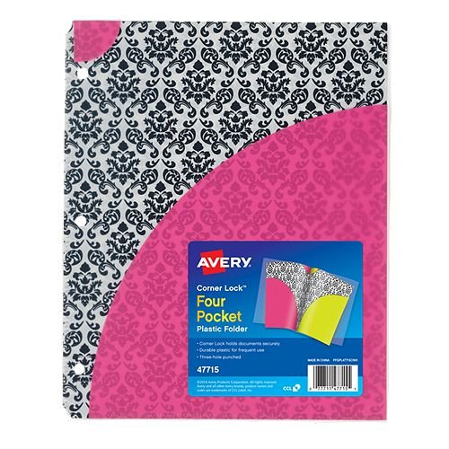 Avery Corner Lock Damask Design Four-Pocket Plastic Folder 1pk (AVE-47715) Image 1