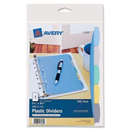 "Avery Durable Plastic Write-On Multicolor 5-Tab 5.5"" x 8.5"" Dividers w/ Pockets 1 set (AVE-16180), Index Tabs Image 1"