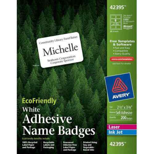 "Avery EcoFriendly Name Badges 2-1/3"" x 3-3/8"" 160pk (AVE-42395) - $19.29 Image 1"