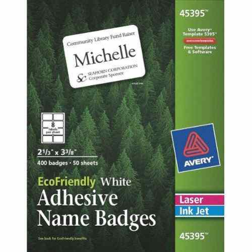 "Avery EcoFriendly Name Badges 2-1/3"" x 3-3/8"" 400pk (AVE-45395) Image 1"