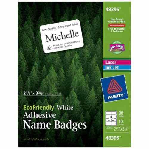 "Avery EcoFriendly Name Badges 2-1/3"" x 3-3/8"" 80pk (AVE-48395) Image 1"