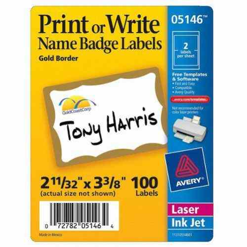 "Avery Gold Border Name Badge Label 2-11/32"" x 3-3/8"" 100pk (AVE-5146) Image 1"