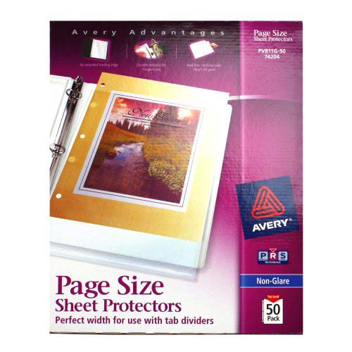 Avery Heavyweight Sheet Protectors 3-Hole Punched Non-Glare 50pk (AVE-74204) Image 1