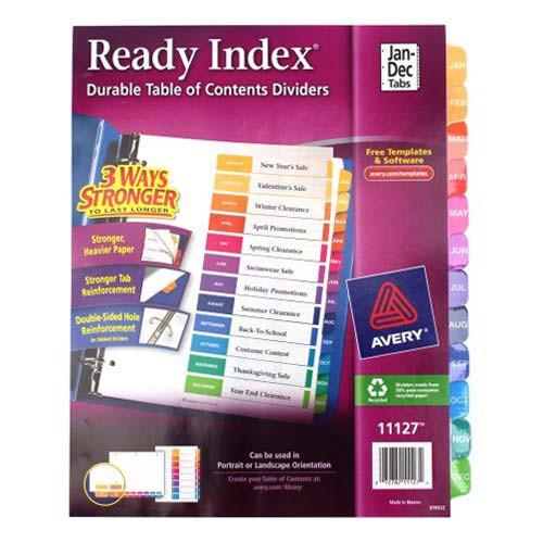 "Avery Jan-Dec 11"" x 8.5"" Contemporary Multicolor Dividers (AVE-11127) Image 1"