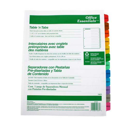 Avery Jan-Dec White Office Essentials Table 'N Tabs Dividers (AVE-11679) - $3.37 Image 1