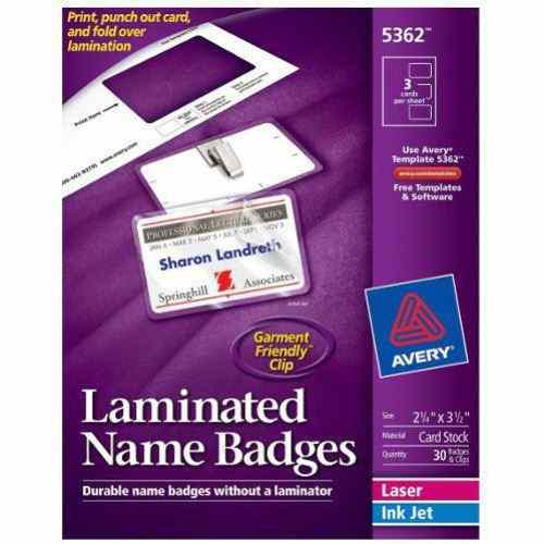 "Avery Laminated Name Badges 2-1/4"" x 3-1/2"" 3up 10 Sheets - 30pk (AVE-5362) Image 1"