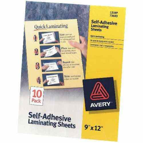 "Avery Laminating Sheets Clear 9"" x 12"" 10pk (AVE-73603) Image 1"