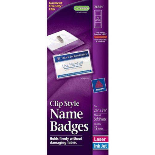 "Avery Laser and Inkjet 2-1/4"" x 3-1/2"" Clip Name Badges 12pk (AVE-74651) Image 1"
