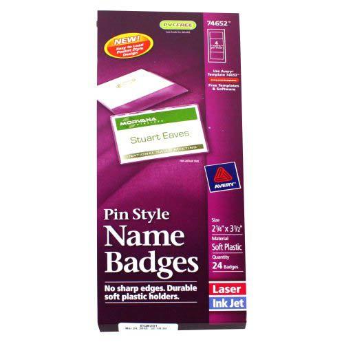 "Avery Laser and Inkjet 2-1/4"" x 3-1/2"" Pin Name Badges 24pk (AVE-74652) Image 1"