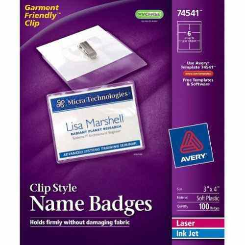 "Avery Laser and Inkjet 3"" x 4"" Clip Name Badges 100pk (AVE-74541) Image 1"