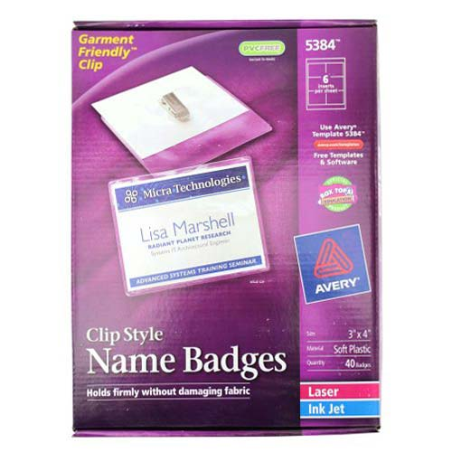 "Avery Laser and Inkjet 3"" x 4"" Clip Name Badges 40pk (AVE-5384) Image 1"