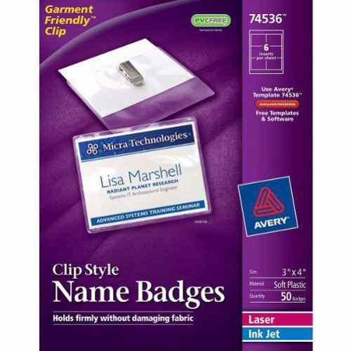 "Avery Laser and Inkjet 3"" x 4"" Clip Name Badges 50pk (AVE-74536) Image 1"