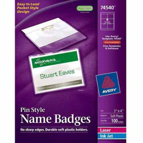 "Avery Laser and Inkjet 3"" x 4"" Pin Name Badges 100pk (AVE-74540) Image 1"