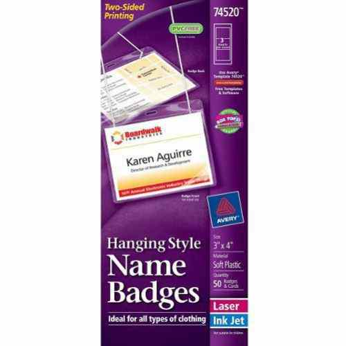 "Avery Laser and Inkjet Hanging 3"" x 4"" Name Badges 50pk (AVE-74520) Image 1"