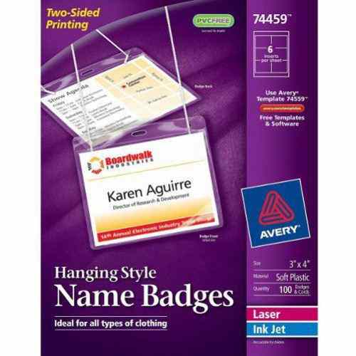 "Avery Laser and Inkjet Hanging Name Badges 3"" x 4"" 100pk (AVE-74459) Image 1"