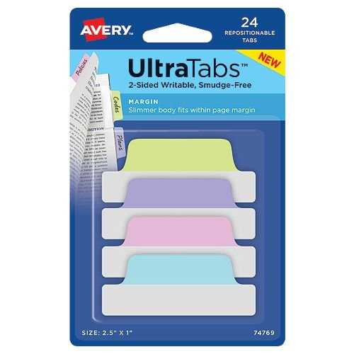 "Avery Margin UltraTabs 2-1/2"" x 1"" Pastel Colored Repositionable 2-Sided Writable Tabs 24pk (AVE-74769) Image 1"