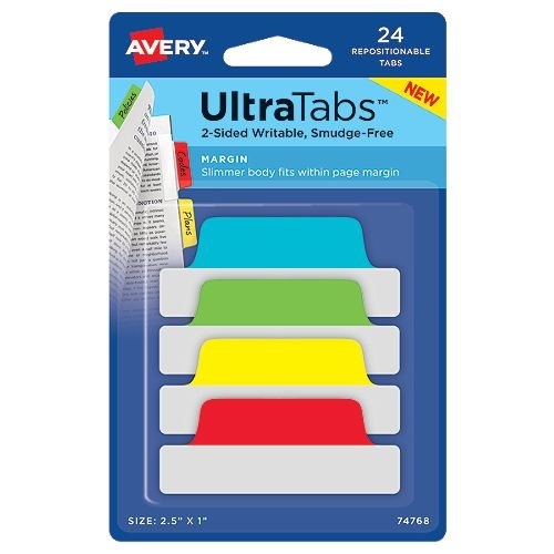 "Avery Margin UltraTabs 2-1/2"" x 1"" Primary Colored Repositionable 2-Sided Writable Tabs 24pk (AVE-74768) Image 1"
