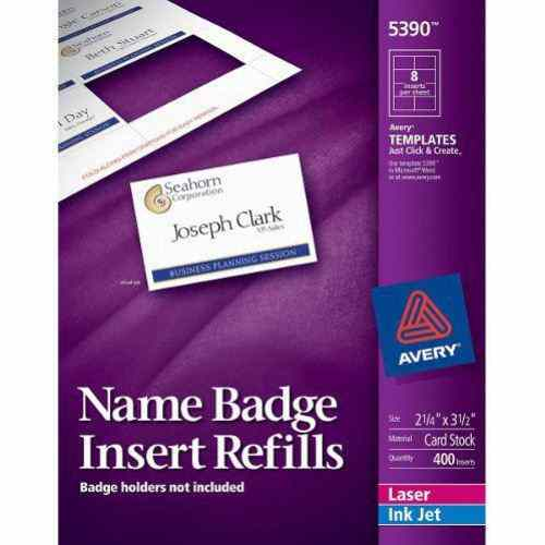"Avery Name Badge Insert Refills 2-1/4"" x 3-1/2"" 8up (50 sheets) (AVE-5390) Image 1"