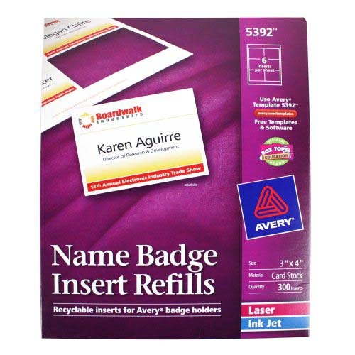 "Avery Name Badge Insert Refills 3"" x 4"" - 300pk (AVE-5392) Image 1"