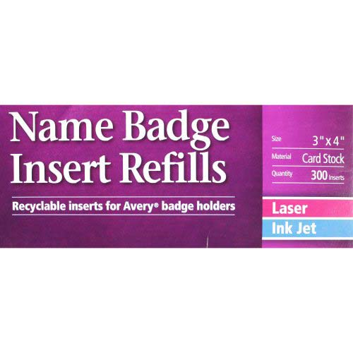Avery name badge insert refills 3 x 4 6up 50 sheets for Avery name badge template 5392