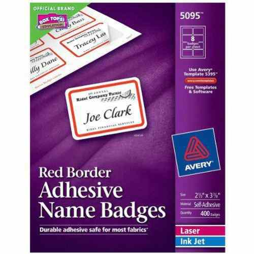 "Avery Name Badge Label 2-1/3"" x 3-3/8"" Red Border 8up 400pk (AVE-5095) Image 1"