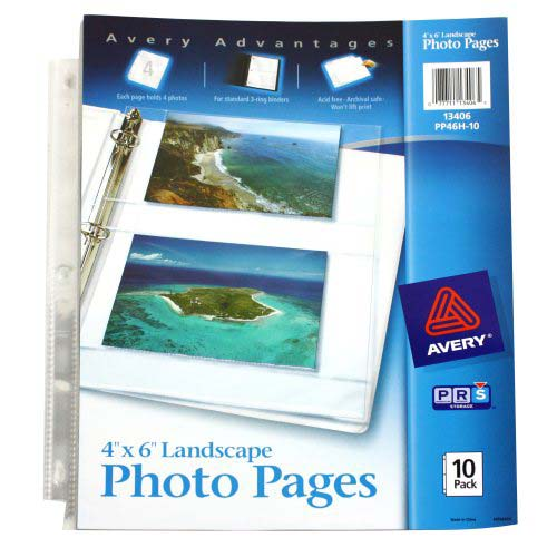"Avery Photo Pages - Four 4"" x 6"" Photos Per Page 10pk (AVE-13406) - $4.09 Image 1"