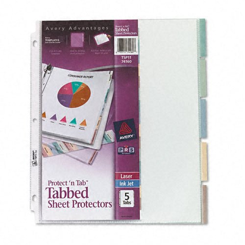 Avery Protect 'N Tab Tabbed Sheet Protectors Clear 5-Tab (AVE-74160) - $5.21 Image 1