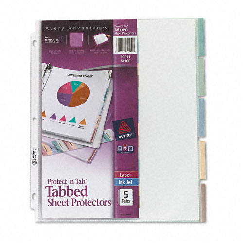 Avery Protect 'N Tab Tabbed Sheet Protectors Clear 5-Tab (AVE-74160) Image 1