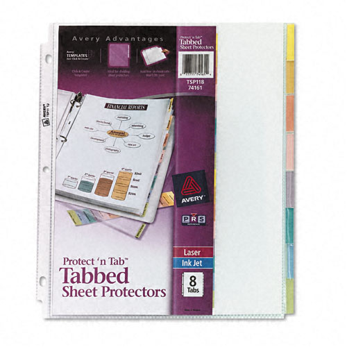 Avery Protect 'N Tab Tabbed Sheet Protectors Clear 8-Tab (AVE-74161) Image 1