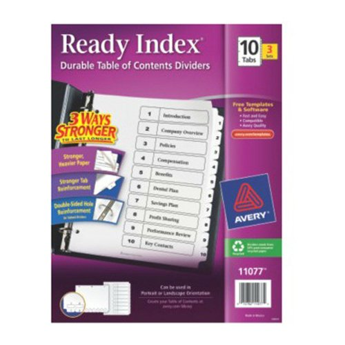 White Avery Preprinted Index Dividers Image 1