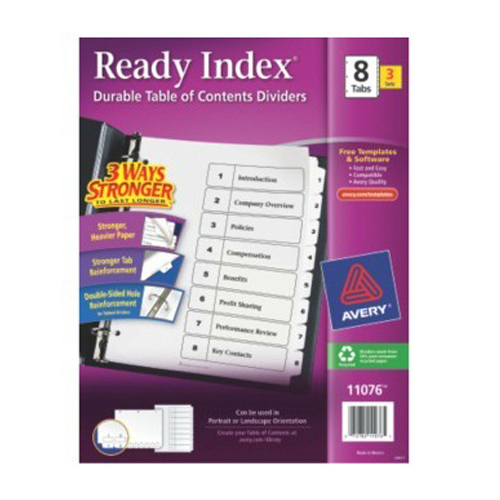 Avery Ready Index Black & White TOC Dividers 1-8 White Tabs 3 sets (AVE-11076)