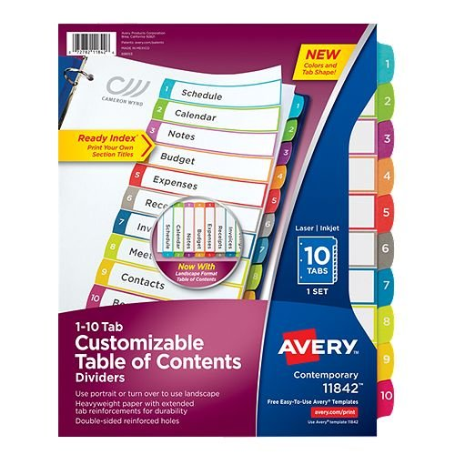 Avery Ready Index Customizable Table of Contents Multicolor 1-10 Tab Preprinted Dividers 1 set (AVE-11842) - $2.79 Image 1