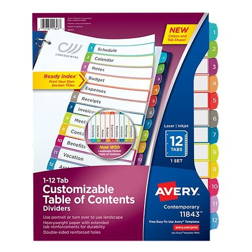 Avery Ready Index Customizable Table of Contents Multicolor 1-12 Tab Preprinted Dividers 1 set (AVE-11843) - $2.64 Image 1
