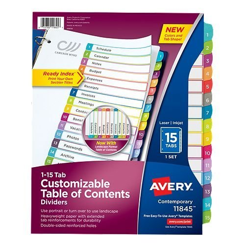 Avery Ready Index Customizable Table of Contents Multicolor 1-15 Tab Preprinted Dividers 1 set (AVE-11845) - $3.31 Image 1