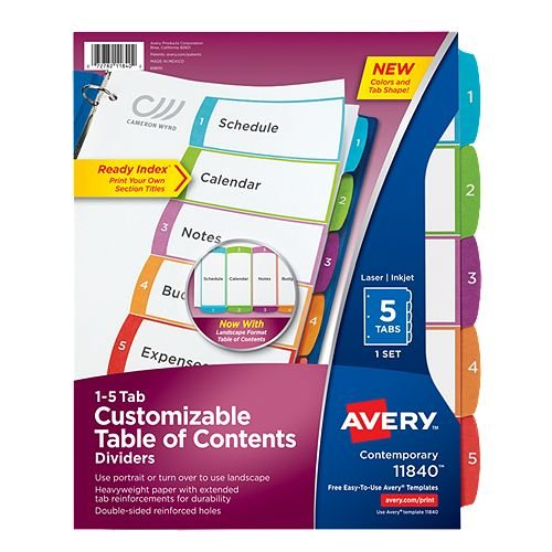 Avery Ready Index Customizable Table of Contents Multicolor 1-5 Tab Preprinted Dividers 1 set (AVE-11840)