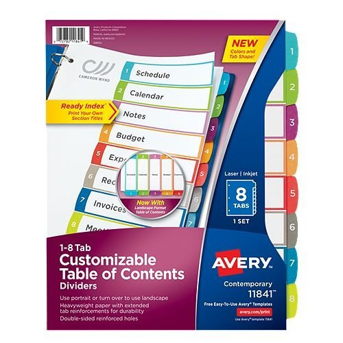 Avery Ready Index Customizable Table of Contents Multicolor 1-8 Tab Preprinted Dividers 1 set (AVE-11841) Image 1
