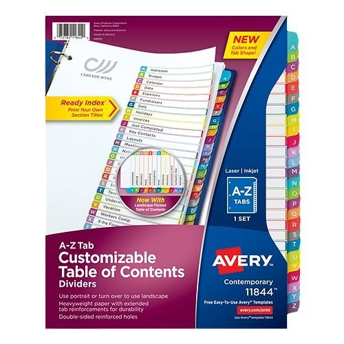 Avery Ready Index Customizable Table of Contents Multicolor A-Z Tab Preprinted Dividers 1 set (AVE-11844) - $3.59 Image 1