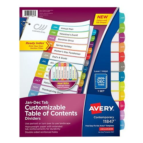 Avery Ready Index Customizable Table of Contents Multicolor Jan-Dec Tab Preprinted Dividers 1 set (AVE-11847) - $2.8 Image 1