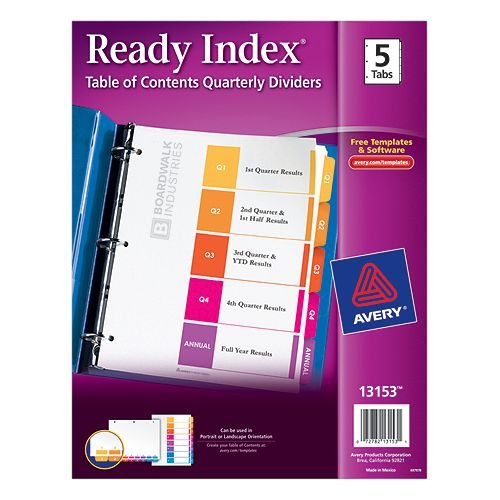 Avery Ready Index Customizable Table of Contents Multicolor Q1-Q4 and Annual Tab Preprinted Dividers 1 set (AVE-13153) - $1.31 Image 1