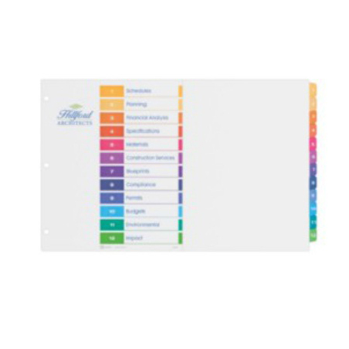 "Avery Ready Index Multicolor 1-12 Tab Preprinted 11"" x 17"" Table of Contents Divider 1 set (AVE-11149) - $9.1 Image 1"