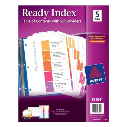 Avery Ready Index Multicolor 1-5 Tab TOC Dividers with Sub-Dividers 1 set (AVE-13154) - $5.21 Image 1
