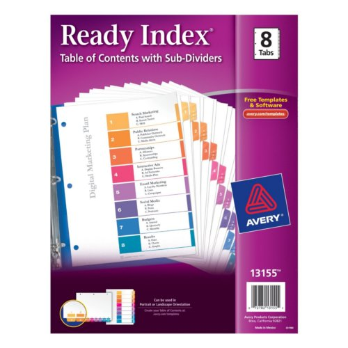 Avery Ready Index Multicolor 1-8 Tab TOC Dividers with Sub-Dividers 1 set (AVE-13155), Index Tab Dividers Image 1