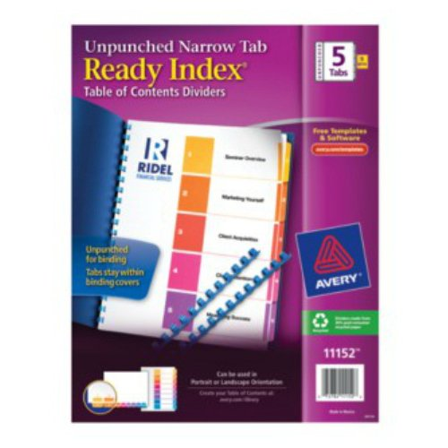 Avery Ready Index Multicolor Narrow Prepinted 1-5 Tab Unpunched TOC Dividers 5pk (AVE-11152) Image 1