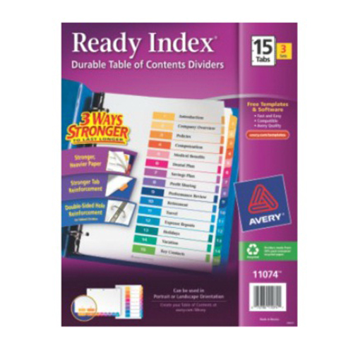 Avery Ready Index Multicolor Preprinted 1-15 Tab Table of Contents Dividers 3 sets (AVE-11074) Image 1