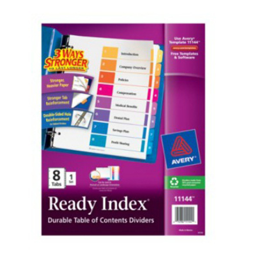 Avery Ready Index Multicolor Preprinted 1-8 Tab Table of Contents Divider (AVE-1-8-TCDIV)