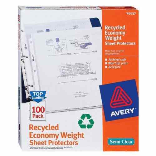 Avery Recycled Economy Sheet Protectors Semi-Clear 100pk (AVE-75537) - $9.83 Image 1