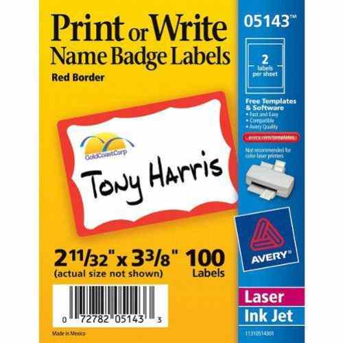 "Avery Red Border Name Badge Label 2-11/32"" x 3-3/8"" 100pk (AVE-5143) - $1.99 Image 1"
