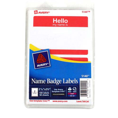 "Avery Red Hello Name Badge Label 2-11/32"" x 3-3/8"" 4x6 Sheets 100pk (AVE-5140) - $1.99 Image 1"